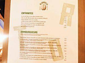 La carta del restaurante Alboroto en Madrid
