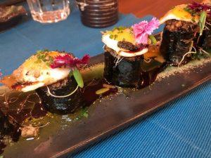Gunkan en el restaurante Kiboka