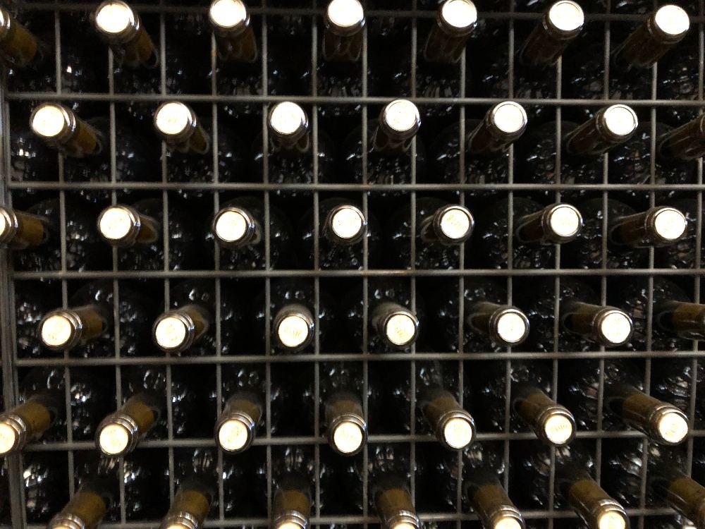 Botellas de vino en la vendimia de Belondrade