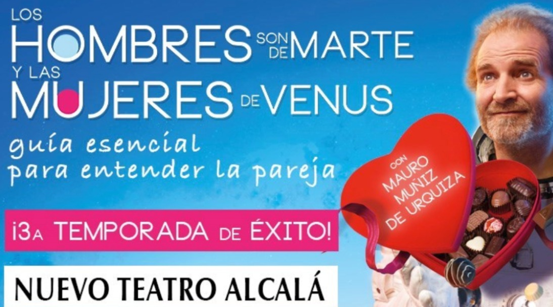 Los hombres son de Marte y las mujeres de Venus en teatro cartel