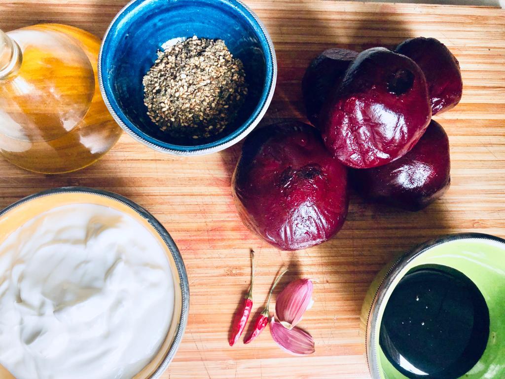 Ingredientes de la receta fácil con remolacha