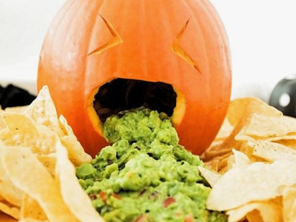 calabaza vomitando, idea plato Halloween